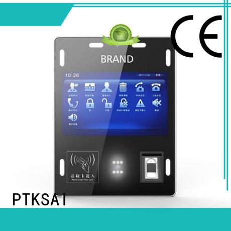 wall mounted visitor management kiosk with barcode scanner for identity verification
