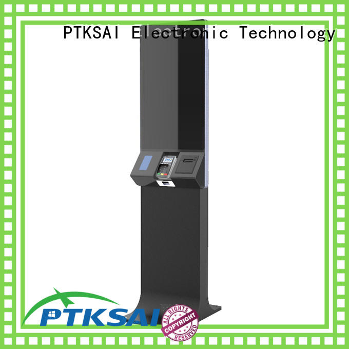 PTKSAI fhd self service ticketing kiosk with receipt printer for payment