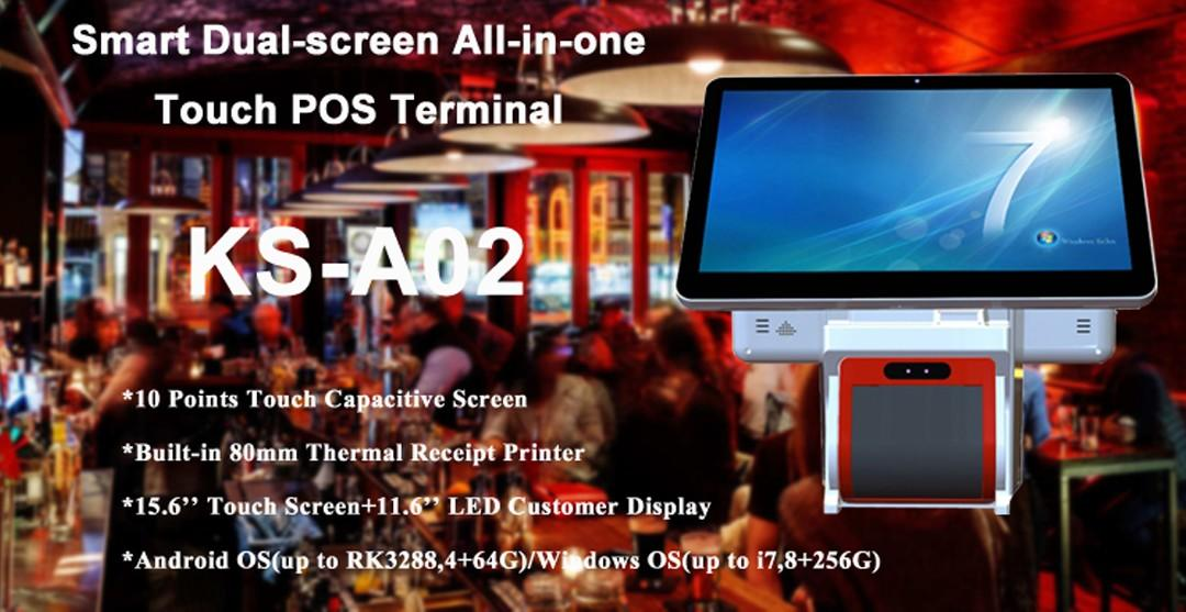 PTKSAI black all in one pos computer with thermal printer for restaurants