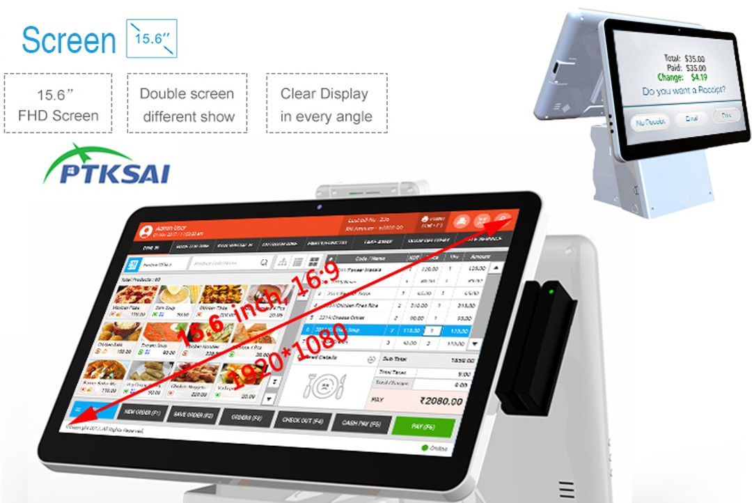 PTKSAI touch screen cash register with thermal printer for restaurants-5
