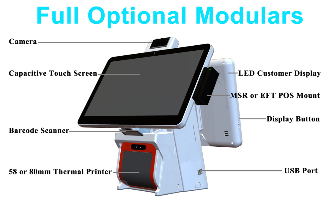 PTKSAI touch screen cash register with thermal printer for restaurants-8