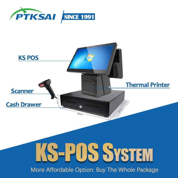 Restaurant Smart Windows Touch Screen POS Machine Retail POS System All in one POS with Printer