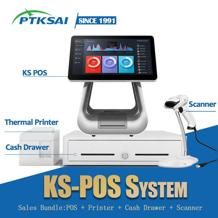 15.6-inch Windows Biometric Dual Screen All in One POS System KS-D for Flagship Store / Hotel / Shopping Mall