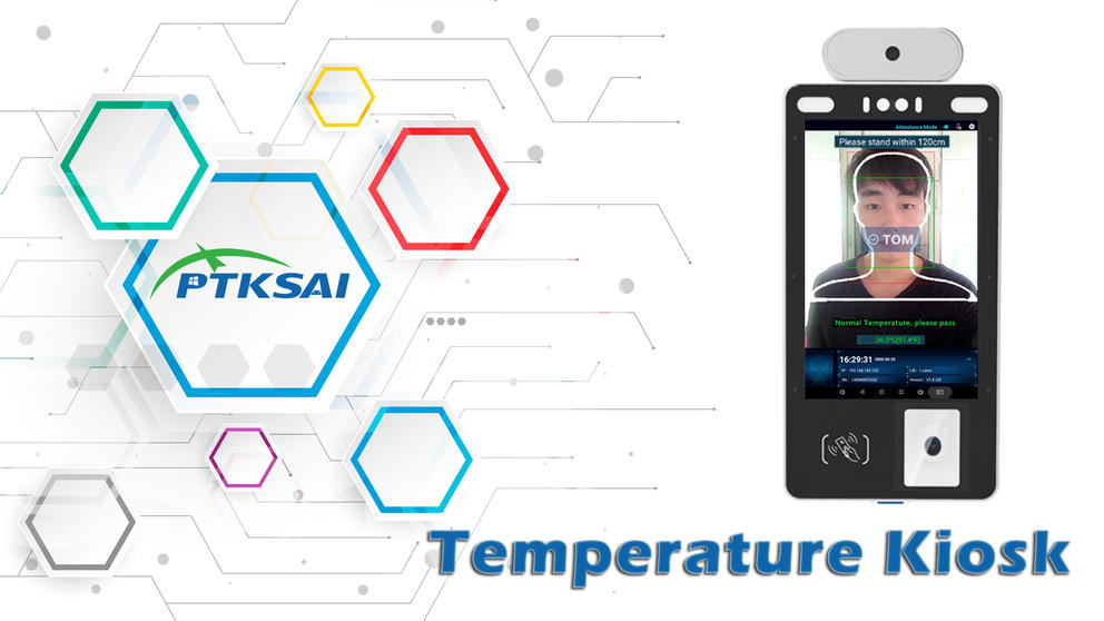 8-inch Temperature Kiosk Biometric Facial Recognition Time Attendance & Access Control Terminal with Infrared Sensor