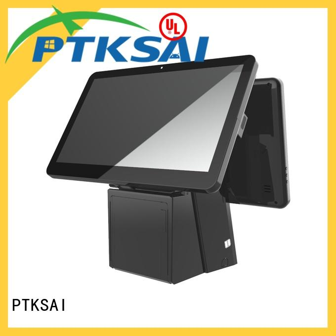 black pos touch screen computer with barcode scanner for restaurants