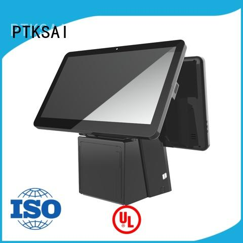 white touch screen pos terminal with receipt printer for restaurants PTKSAI