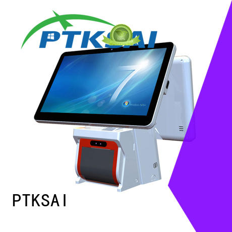 PTKSAI white cheap pos machine with thermal printer for self service