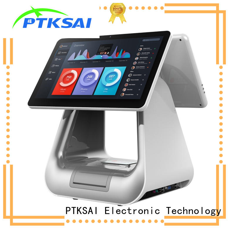 pos all in one touchscreen computer with auto cutter for self service PTKSAI
